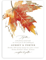 This is a orange foil stamped wedding invitation by Jackie Crawford called Blueridge with foil-pressed printing on signature in standard.