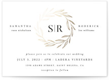 This is a white foil stamped wedding invitation by Kelly Schmidt called Chic Wreath with foil-pressed printing on signature in standard.
