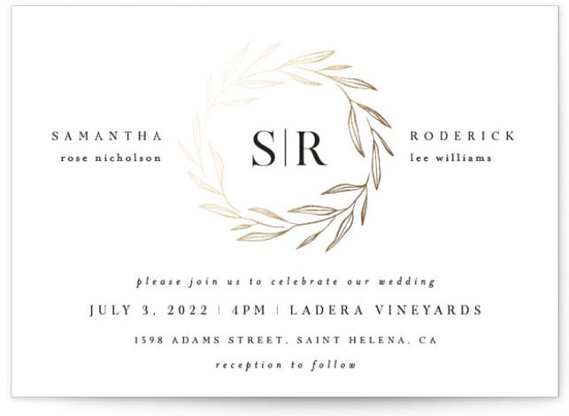 Chic Wreath Foil-Pressed Wedding Invitations