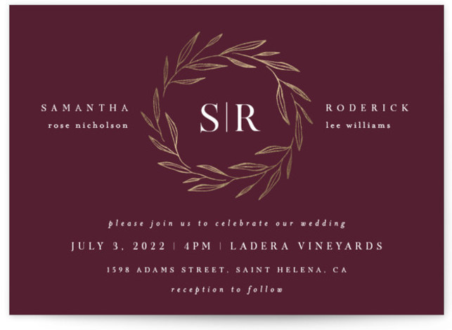 This is a landscape classic and formal, red Wedding Invitations by Kelly Schmidt called Chic Wreath with Foil Pressed printing on Signature in Classic Flat Card format. A foil wreath surrounds bold initials in this modern, minimal design