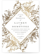 This is a white foil stamped wedding invitation by Jennifer Postorino called Beautiful Bouquet with foil-pressed printing on signature in standard.