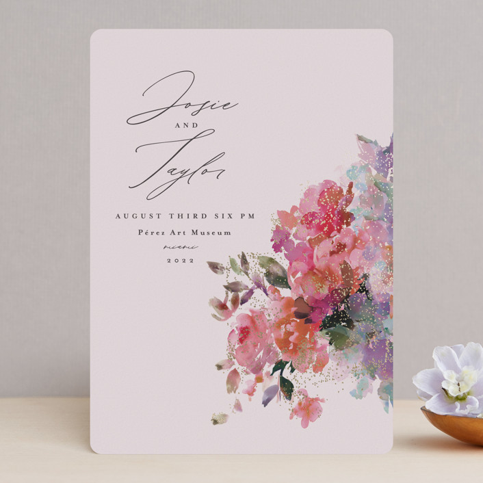 """""""Blossoms"""" - Foil-pressed Wedding Invitations in Blush by Lori Wemple."""