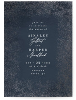 This is a blue foil stamped wedding invitation by Everett Paper Goods called Dusted with foil-pressed printing on signature in standard.