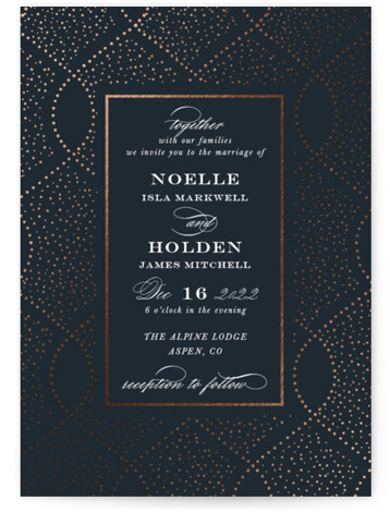 This is a portrait bohemian, blue Wedding Invitations by Jackie Crawford called Monaco with Foil Pressed printing on Signature in Classic Flat Card format. Formal pattern and typography for a timeless wedding artwork is original