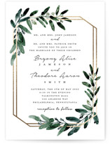 This is a white foil stamped wedding invitation by Lissabeth Anglin called Gilded Eucalyptus with foil-pressed printing on signature in standard.