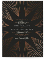 This is a black foil stamped wedding invitation by Alethea and Ruth called Starburst with foil-pressed printing on signature in standard.