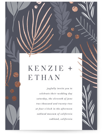 This is a portrait botanical, rustic, blue Wedding Invitations by Olivia Raufman called Novel Charm with Foil Pressed printing on Signature in Classic Flat Card format. A bold design featuring a large scale minimalist pattern of leaves.