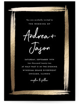 This is a black foil stamped wedding invitation by Stacey Meacham called Brushy frame with foil-pressed printing on signature in standard.