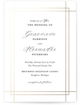 This is a white foil stamped wedding invitation by Genna Cowsert called Interlace with foil-pressed printing on signature in standard.