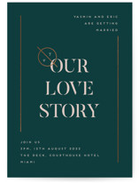 This is a green foil stamped wedding invitation by Bonjour Berry called Our Love Story with foil-pressed printing on signature in standard.