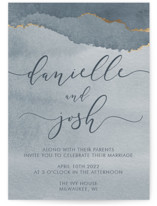 This is a blue foil stamped wedding invitation by Danielle Cole called Dreamy with foil-pressed printing on signature in standard.