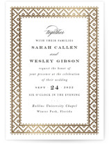 This is a black and white foil stamped wedding invitation by Sara Hicks Malone called boho elegance with foil-pressed printing on signature in standard.