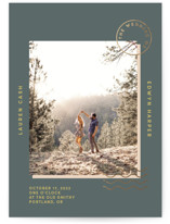 This is a green foil stamped wedding invitation by Kim Scott called National Forest with foil-pressed printing on signature in standard.