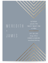 This is a blue foil stamped wedding invitation by Erin German Design called Arrow with foil-pressed printing on signature in standard.
