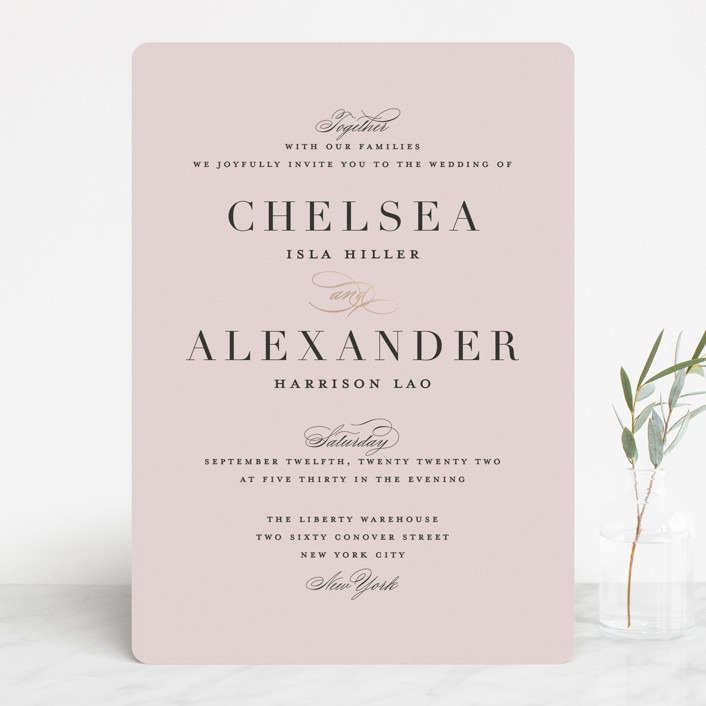 """Enchanted Evening"" - Foil-pressed Wedding Invitations in Blush by Ashley DeMeyere."