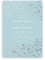 This is a blue foil stamped wedding invitation by Elly called Infinite Abstract with foil-pressed printing on signature in standard.