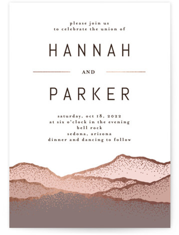 Desert Mountains Foil-Pressed Wedding Invitations