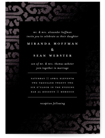 This is a portrait bohemian, black Wedding Invitations by Liz Conley called Gilded Ikat with Foil Pressed printing on Signature in Classic Flat Card format. This classical foil wedding invitation design features a traditional ikat rendered in weathered gold for ...