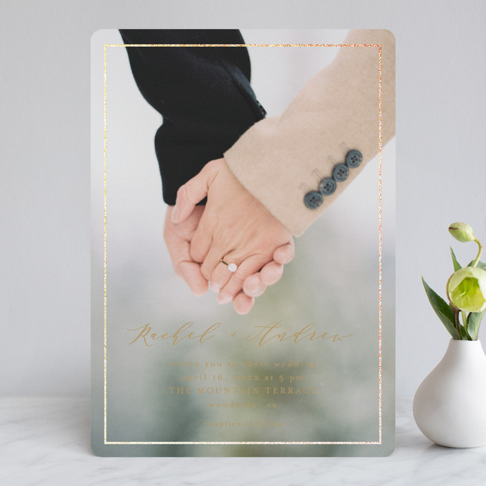 """""""Forever One"""" - Foil-pressed Wedding Invitations in Linen by Mansi Verma."""
