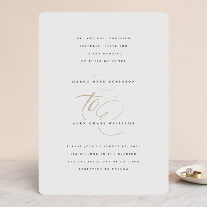 """clean and classic"" - Foil-pressed Wedding Invitations in Ivory by Laura Hamm."