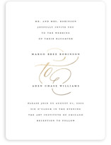 This is a white foil stamped wedding invitation by Laura Hamm called clean and classic with foil-pressed printing on signature in standard.