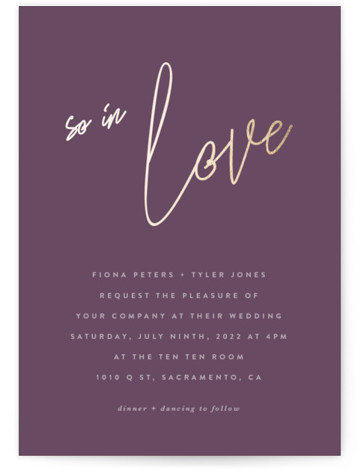 This is a portrait simple and minimalist, purple Wedding Invitations by JoAnn Jinks called in script with Foil Pressed printing on Signature in Classic Flat Card format. Invite your loved ones to your big day with this elegantly modern design. ...