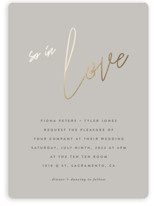 This is a grey foil stamped wedding invitation by JoAnn Jinks called in script with foil-pressed printing on signature in standard.