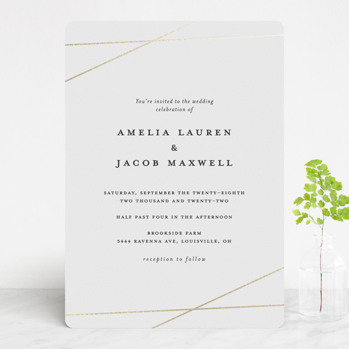 """""""Minimal Shine"""" - Foil-pressed Wedding Invitations in Snow by Emily Betts."""