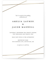 This is a white foil stamped wedding invitation by Emily Betts called Minimal Shine with foil-pressed printing on signature in standard.