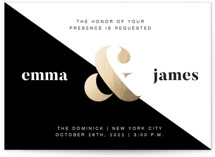 This is a black and white foil stamped wedding invitation by Reilley Barringer called Gold Ampersand with foil-pressed printing on signature in standard.