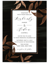 This is a black foil stamped wedding invitation by Roopali called Elegance with foil-pressed printing on signature in standard.