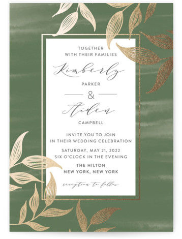 This is a portrait botanical, rustic, green Wedding Invitations by Roopali called Elegance with Foil Pressed printing on Signature in Classic Flat Card format. A wedding invite with beautiful hand sketched leaves in gold foil and painted watercolor background