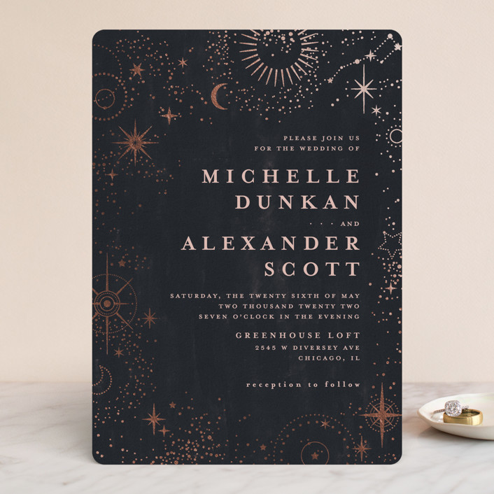 """look at the stars"" - Bohemian Foil-pressed Wedding Invitations in Midnight by Anastasia Makarova."