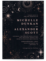 This is a black foil stamped wedding invitation by Anastasia Makarova called look at the stars with foil-pressed printing on signature in standard.
