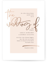 This is a beige foil stamped wedding invitation by Ann Gardner called Mingle with foil-pressed printing on signature in standard.