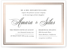 This is a white foil stamped wedding invitation by Griffinbell Paper Co. called Tailored Stripes with foil-pressed printing on signature in standard.