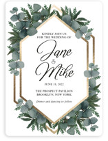 This is a green foil stamped wedding invitation by Psychae called Greenery frame with foil-pressed printing on signature in standard.