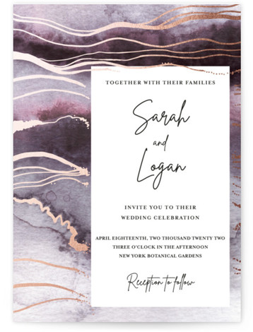 This is a portrait painterly, purple Wedding Invitations by Jen Merli Schneider called bohemian watercolor with Foil Pressed printing on Signature in Classic Flat Card format. Hand painted abstract watercolor background with gold foil details
