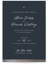 This is a blue foil stamped wedding invitation by Shari Margolin called Sweet Union with foil-pressed printing on signature in standard.