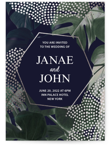 This is a portrait botanical, blue, green Wedding Invitations by EMANUELA CARRATONI called Lush Monstera Love with Foil Pressed printing on Signature in Classic Flat Card format. A lush, exotic jungle of monsteras on a sweet blush background for this ...