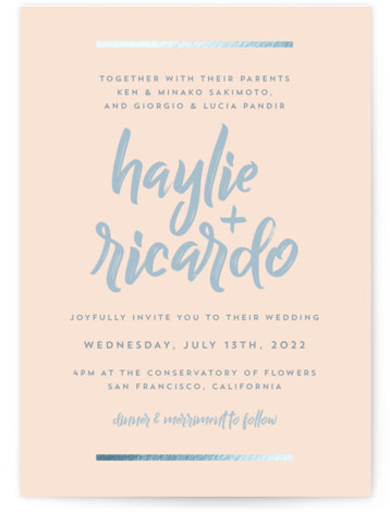 This is a portrait classic and formal, simple and minimalist, pink Wedding Invitations by Julie Chow called Double Bars with Foil Pressed printing on Signature in Classic Flat Card format. A simple foil accented design with hand scripted font announcing ...