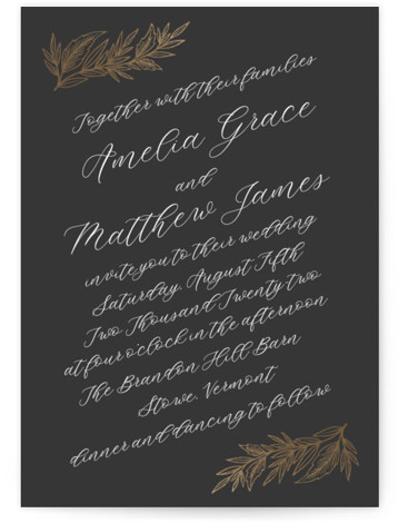 This is a portrait botanical, rustic, grey Wedding Invitations by Katharine Watson called Slanted Script Leaves with Foil Pressed printing on Signature in Classic Flat Card format. This design uses a formal script combined with rustic hand drawn leaves to ...