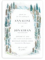 This is a blue foil stamped wedding invitation by Karidy Walker called Frosted Forest with foil-pressed printing on signature in standard.