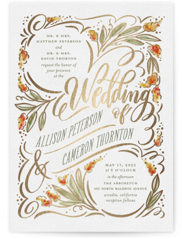 This is a portrait botanical, rustic, green, yellow Wedding Invitations by Laura Bolter Design called Garden Swirls with Foil Pressed printing on Signature in Classic Flat Card format. Swirls of foil accents and hand lettering over hand painted, watercolor florals ...