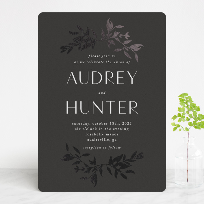 """""""botanical border"""" - Foil-pressed Wedding Invitations in Eclipse by Morgan Kendall."""