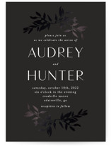 This is a black foil stamped wedding invitation by Morgan Kendall called botanical border with foil-pressed printing on signature in standard.