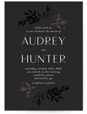 botanical border Foil-Pressed Wedding Invitations