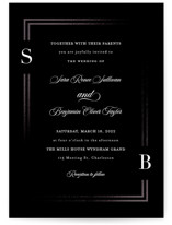 This is a black foil stamped wedding invitation by Carolyn MacLaren called Side by Side with foil-pressed printing on signature in standard.