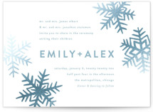 This is a blue foil stamped wedding invitation by Jessie Steury called Snowflakes with foil-pressed printing on signature in standard.