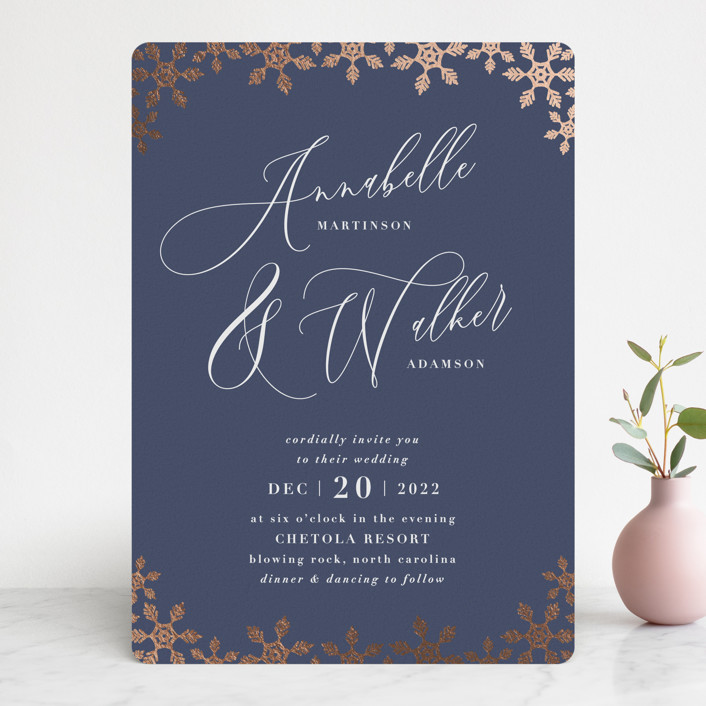 """""""Frosted"""" - Foil-pressed Wedding Invitations in Midnight Snow by Sara Heilwagen."""
